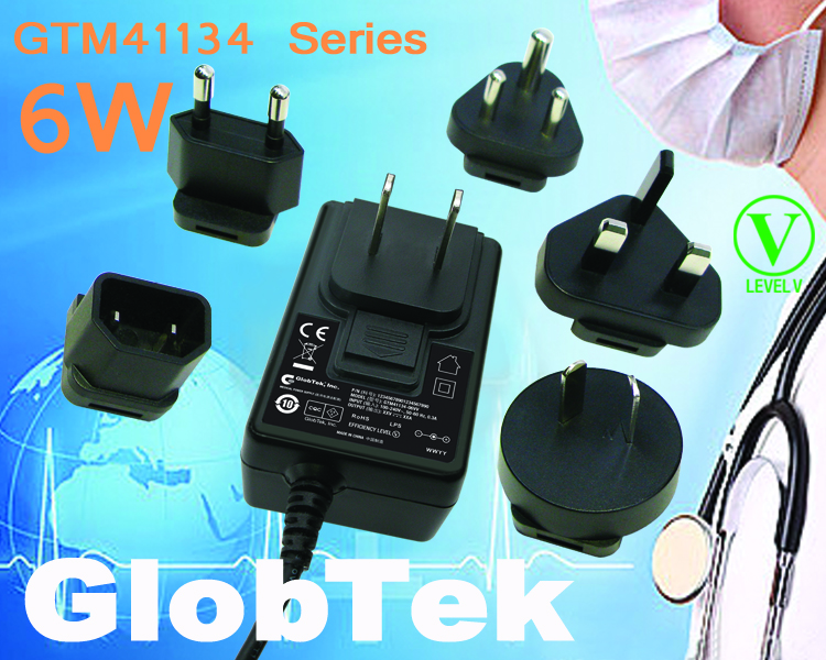6W Wall Plug in power supply series GTM41134 is now in production in compliance with IEC/EN 30551-1 and UL 1310. The universal input switching power supply adapter model series is a versatile wall plug...