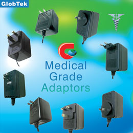 Medical Adaptors for Domestic, International & Universal applications. GlobTek's designs include Wall Plug-in & Desktop styles: AC-DC Unregulated & Regulated AC-DC Switchmode power supplies up to 100W;...